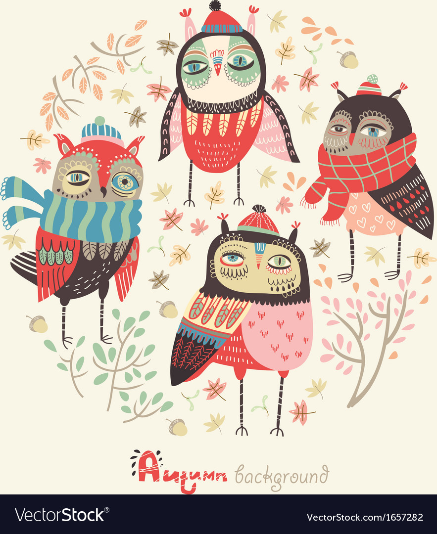 Autumn image with owls vector