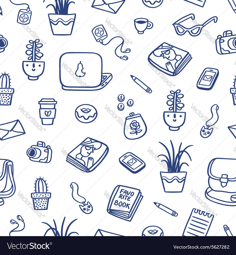 Whats on my table deep blue ink seamless pattern vector
