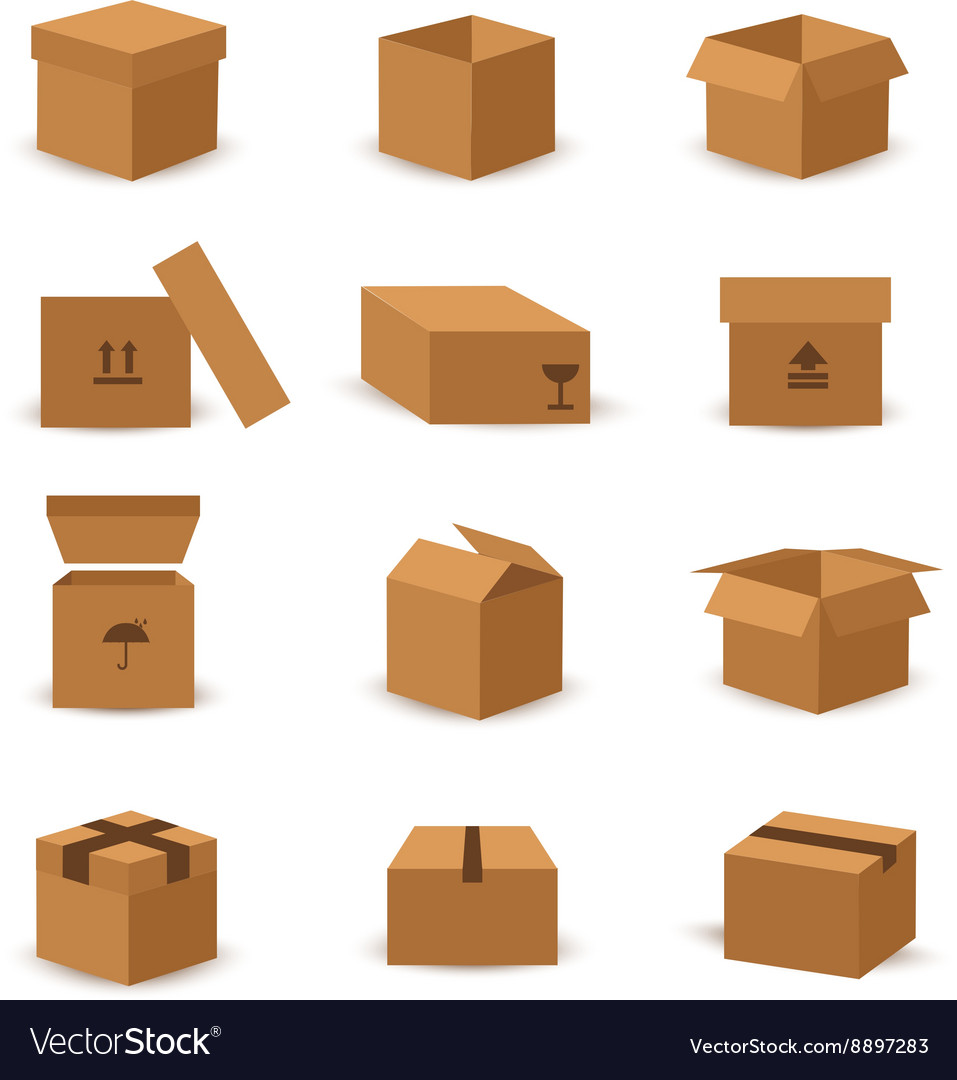 Flat box and packing icon vector