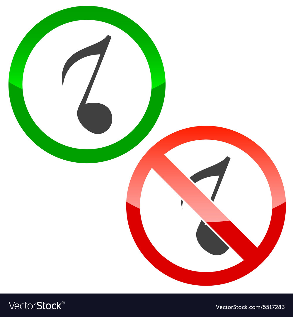 Music permission signs set 3 vector
