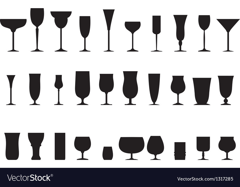 Glass collection  silhouette vector