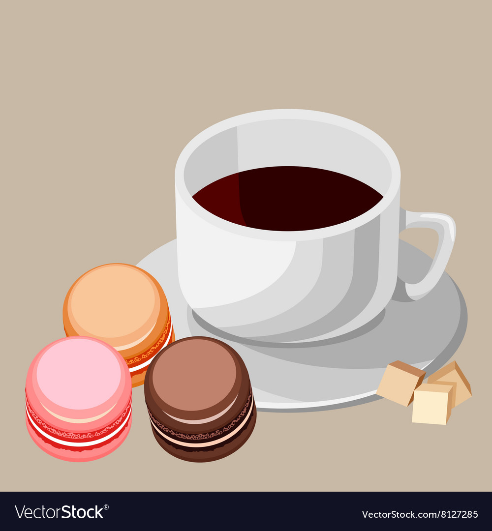 Set multicolored macaroons and white cup vector