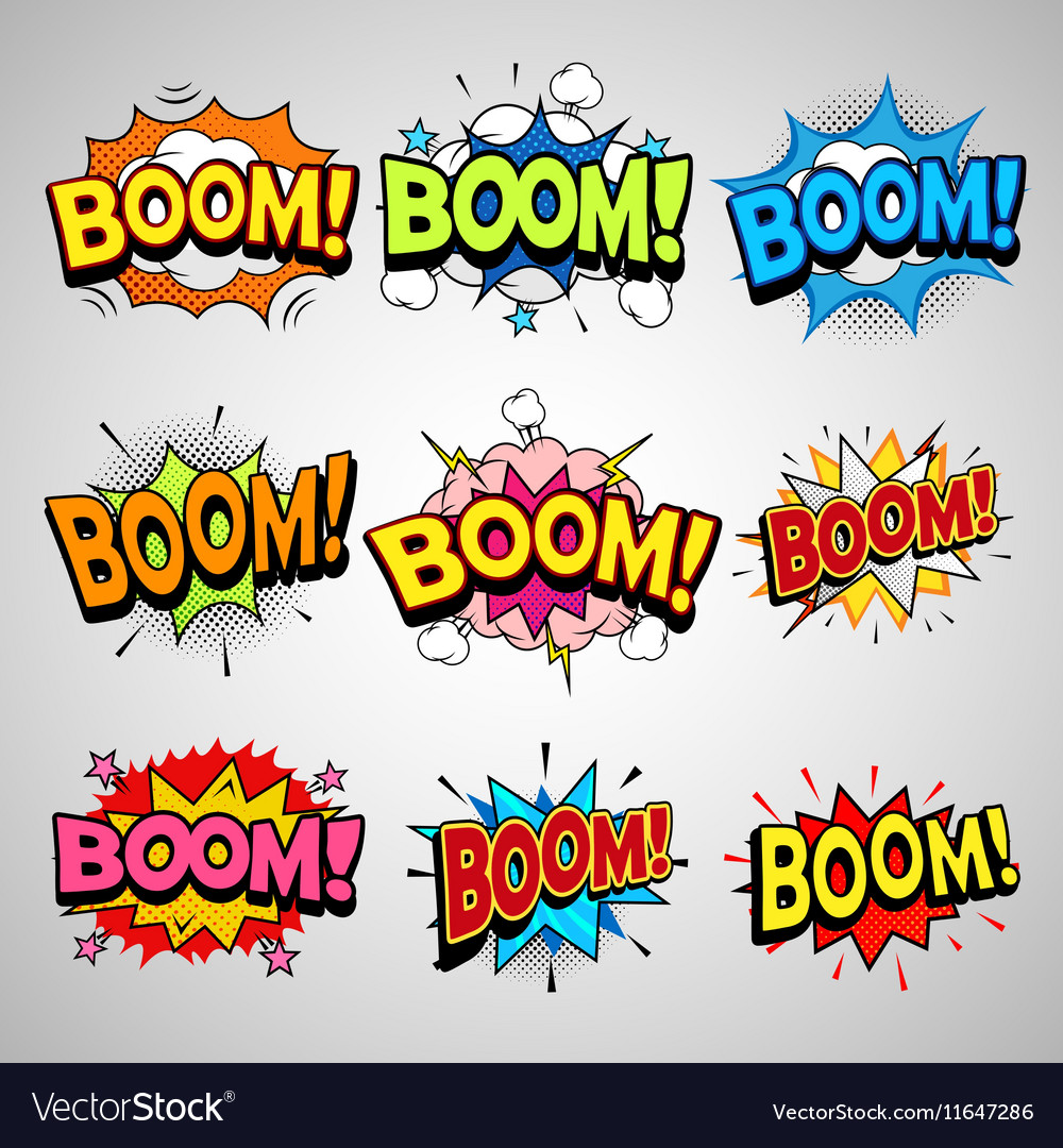 Comic book boom speech bubble set vector
