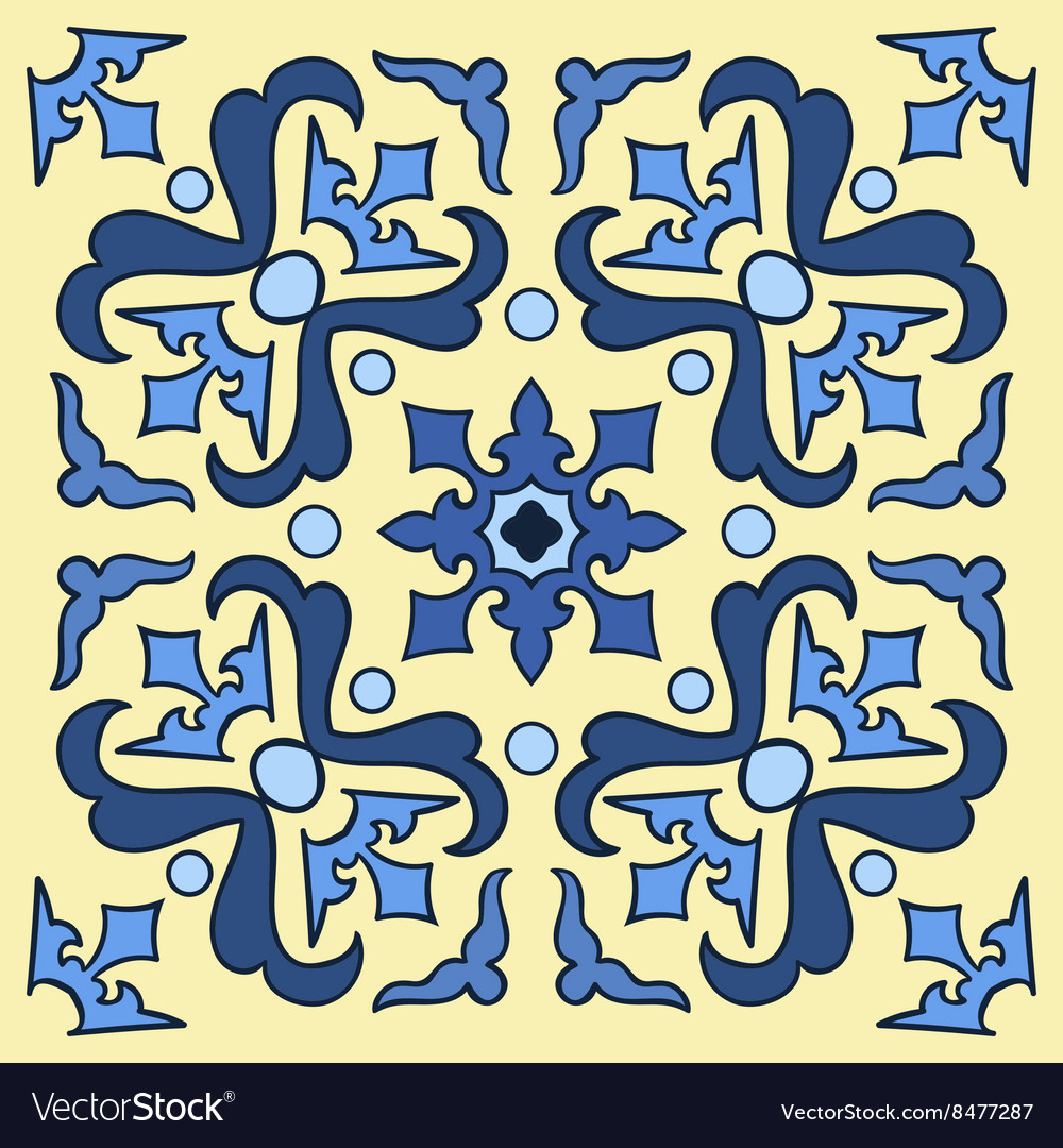 Hand drawing tile pattern in blue and yellow vector