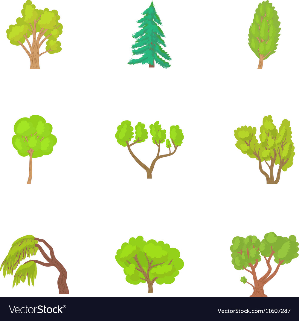 Trees icons set cartoon style vector