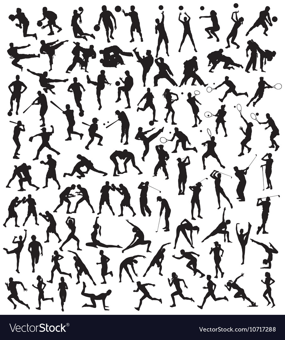 Various silhouette sports activities vector
