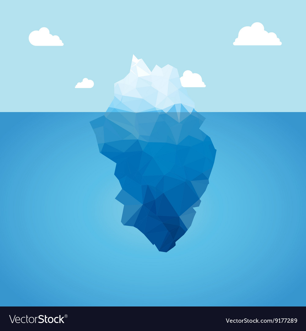 3d iceberg concept success vector