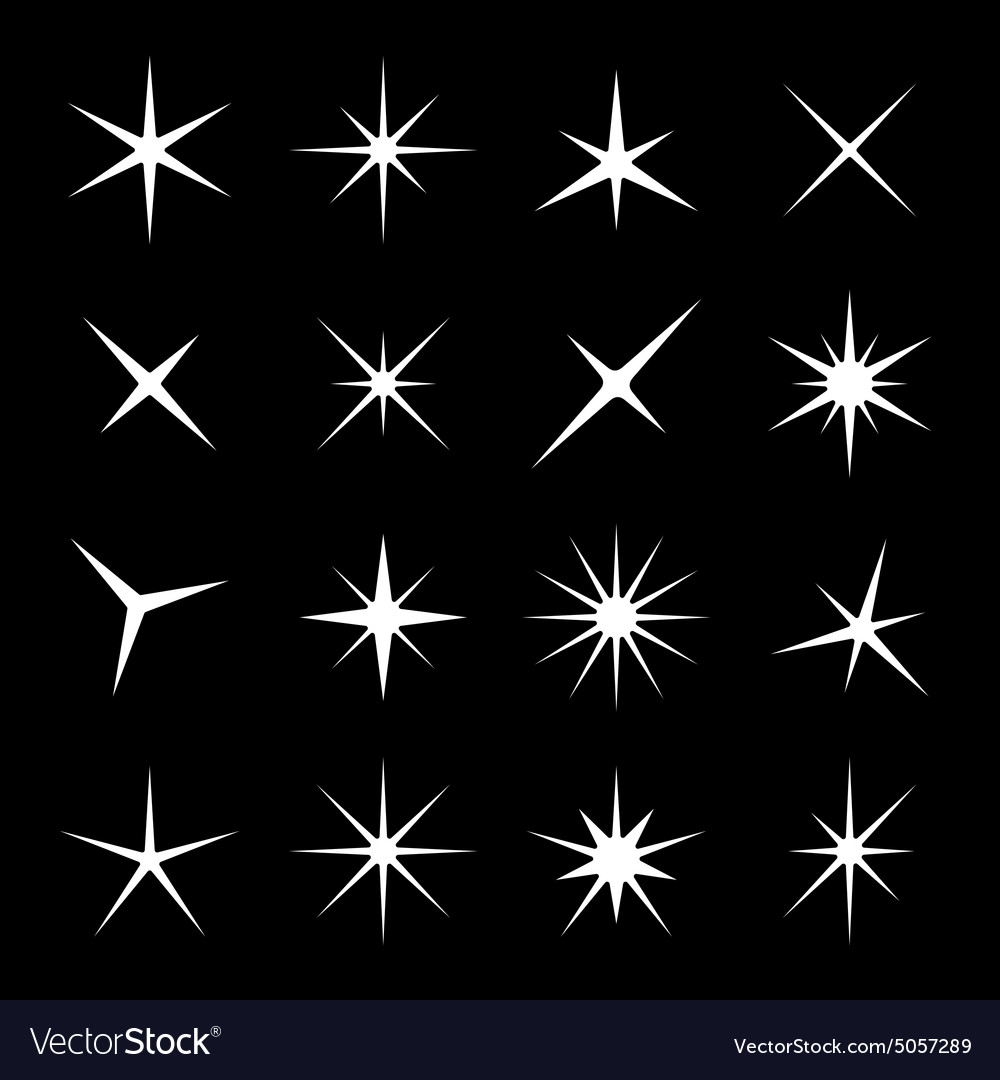 Light sparkles star set vector