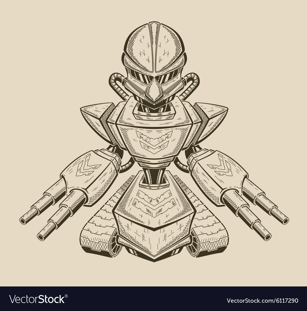 An angry robot getting ready for vector