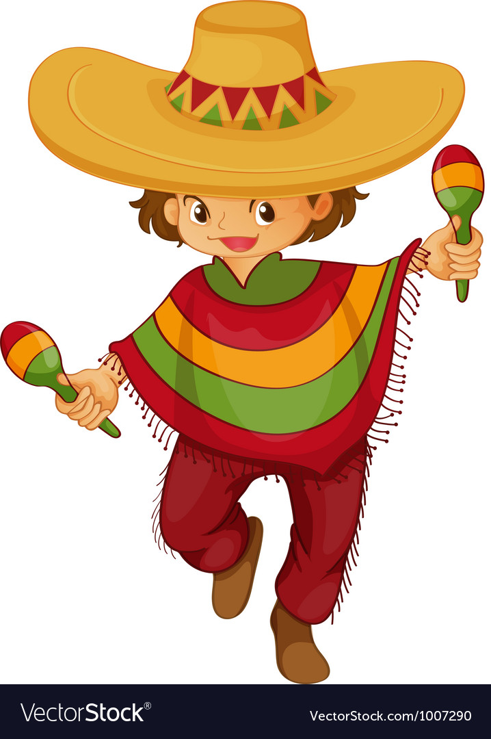 Man traditional mexcian dress vector