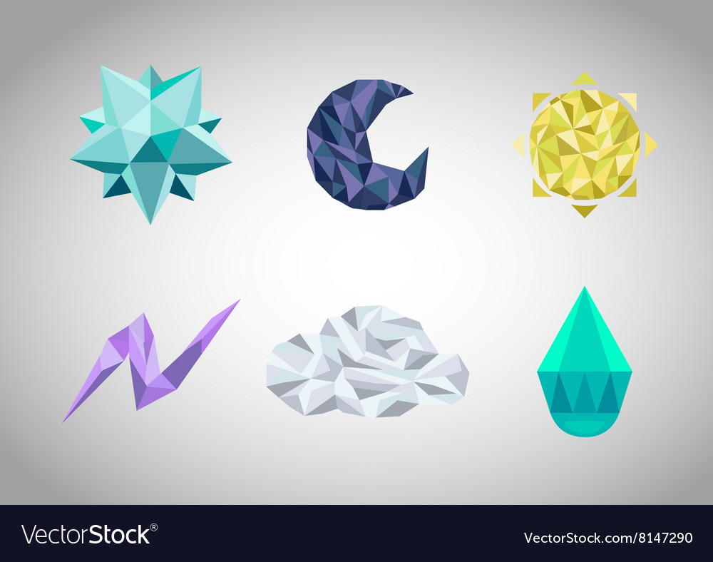 Set of polygonal geometrical figures vector