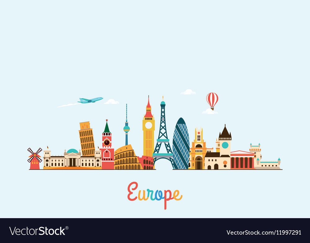 Europe skyline travel and tourism background vector