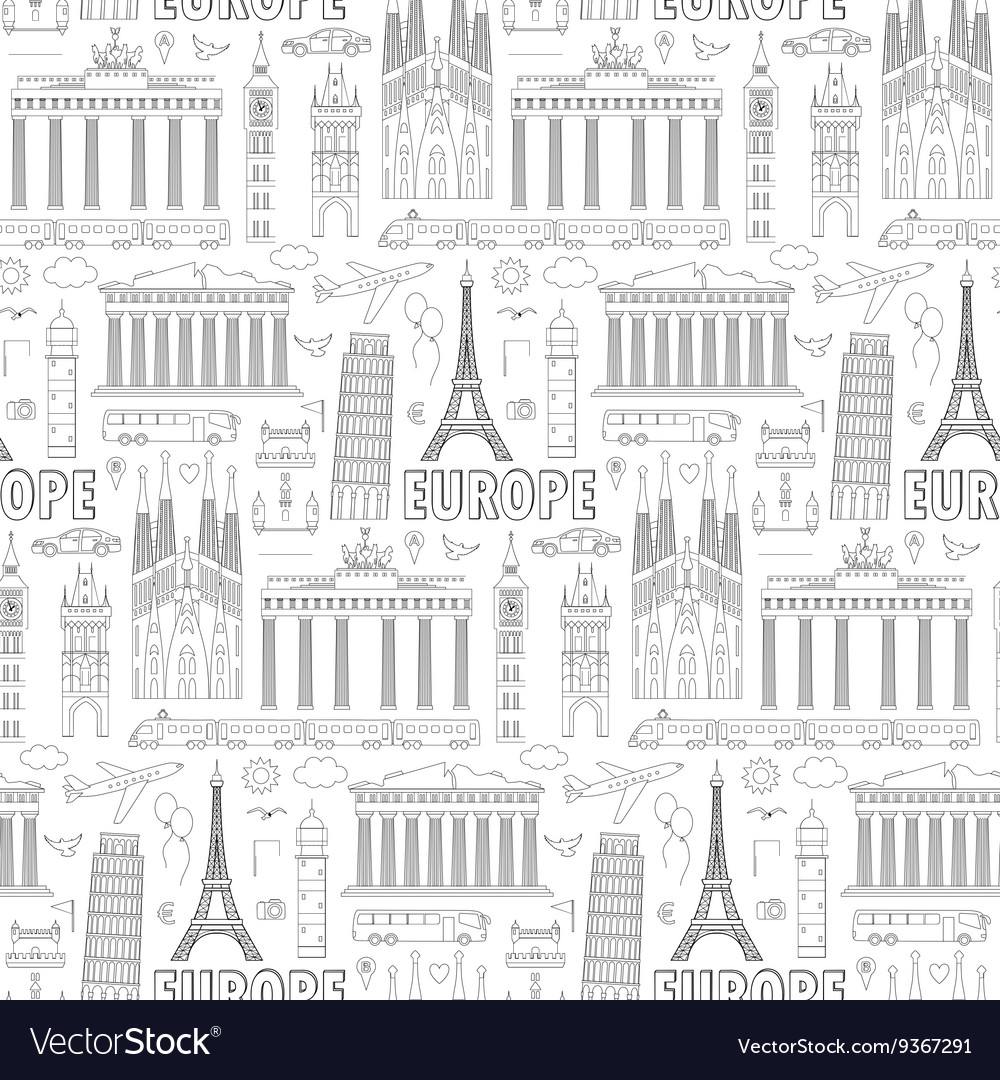 Europe travel seamless pattern vector