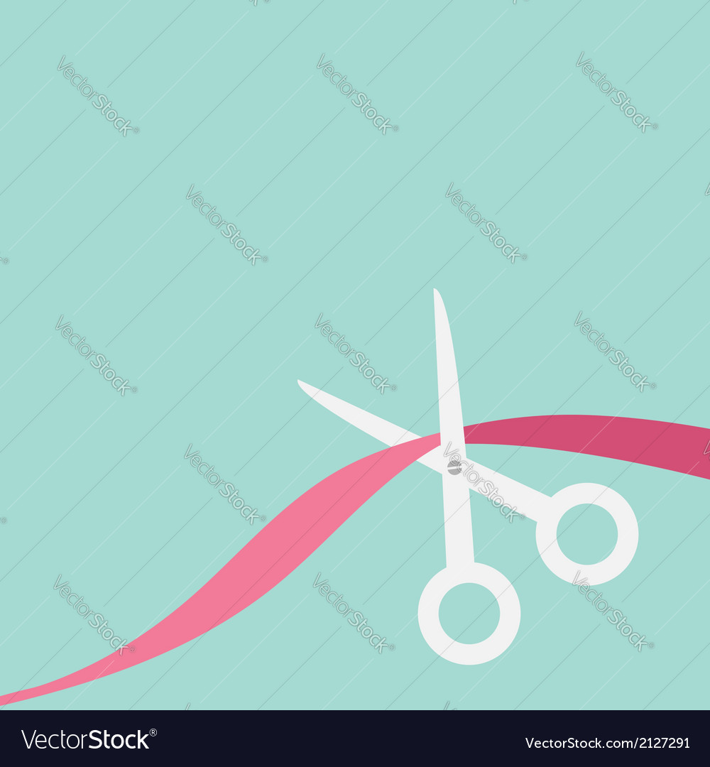 Scissors cut the ribbon flat design style vector