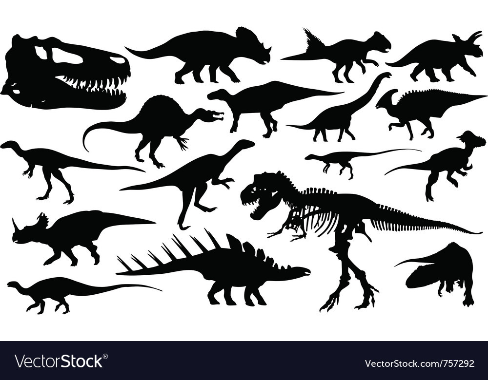 Different dinosaur silhouettes vector