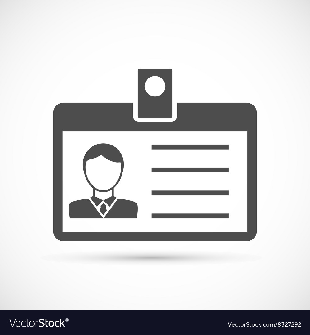 Identification card for man icon vector