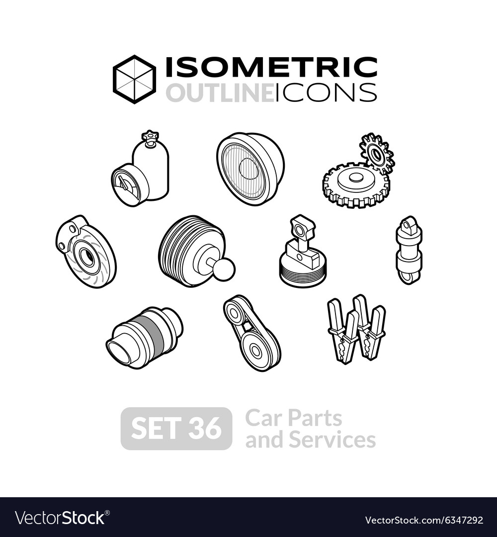 Isometric outline icons set 36 vector