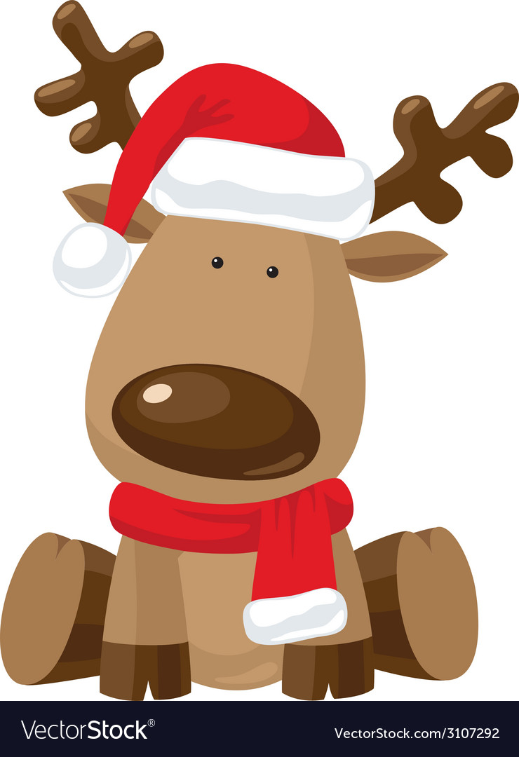 Reindeer child in christmas red hat vector