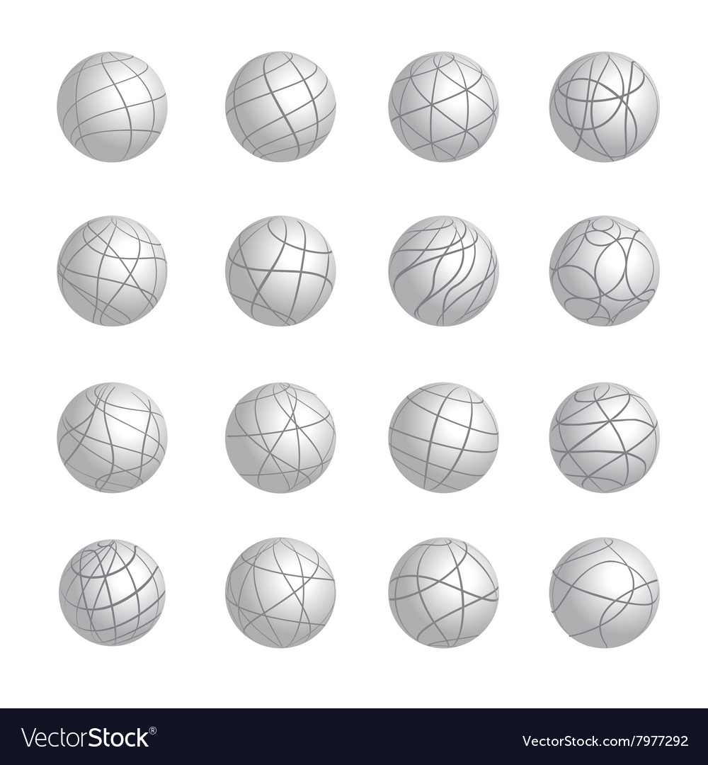 Sphere gray logotypes icons set vector