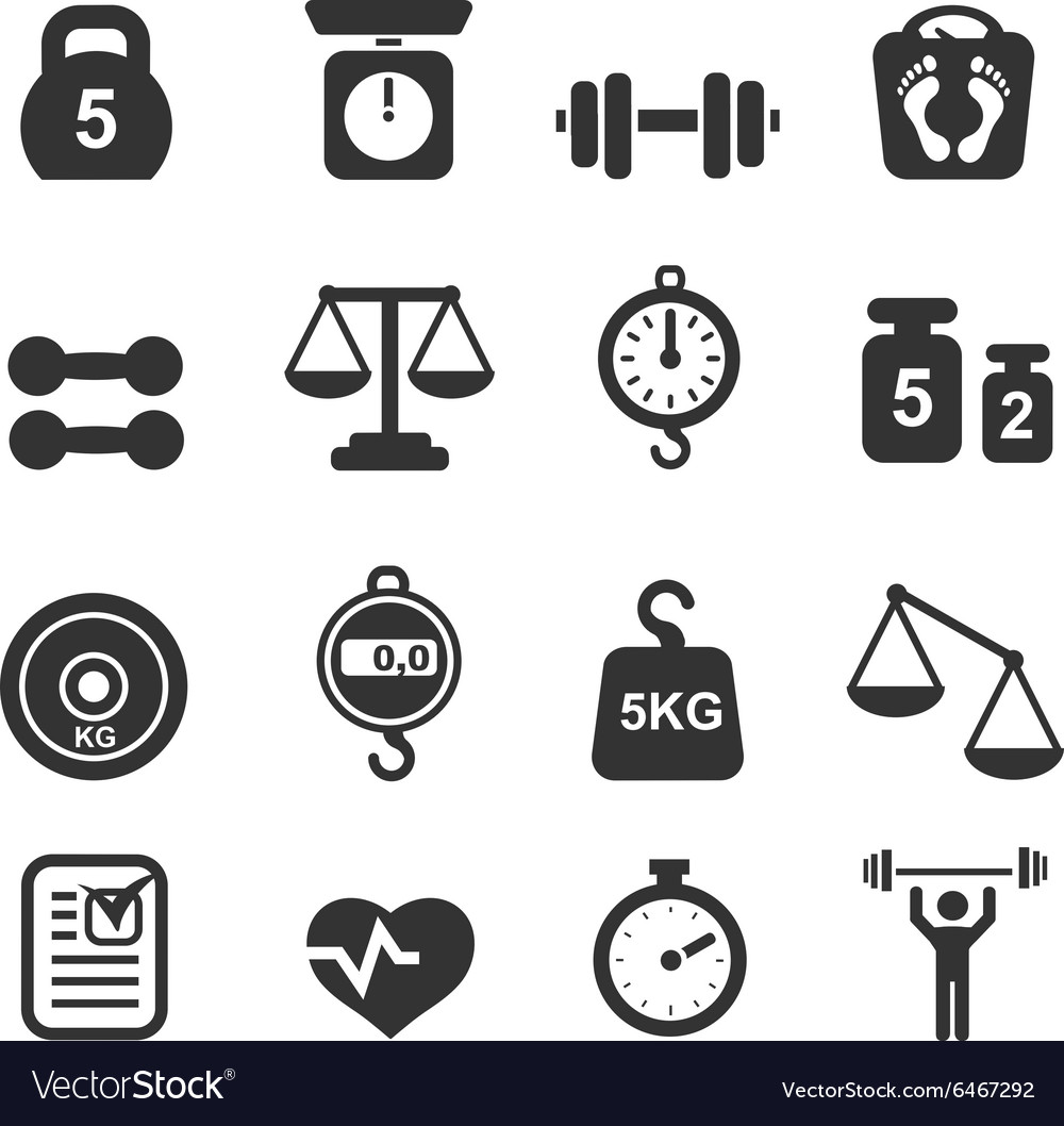 Weight icon set  scales weighing and balance vector