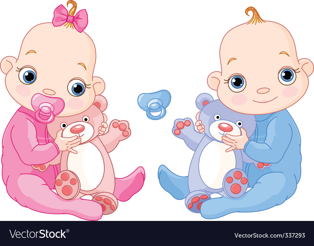 Cute twins with toys vector
