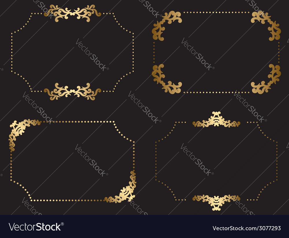 Gold frames with arabic elements  set vector