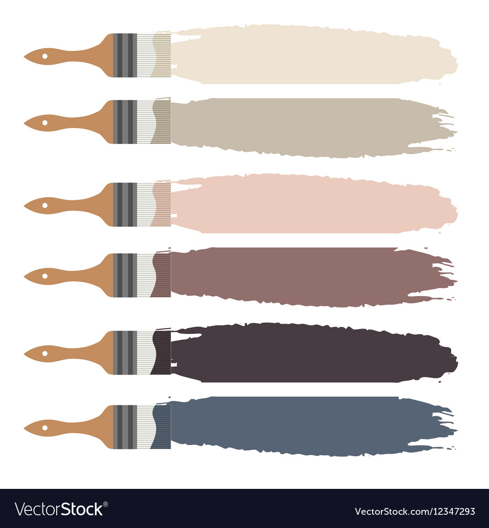 Paint brush icon and color swatch strokes vector