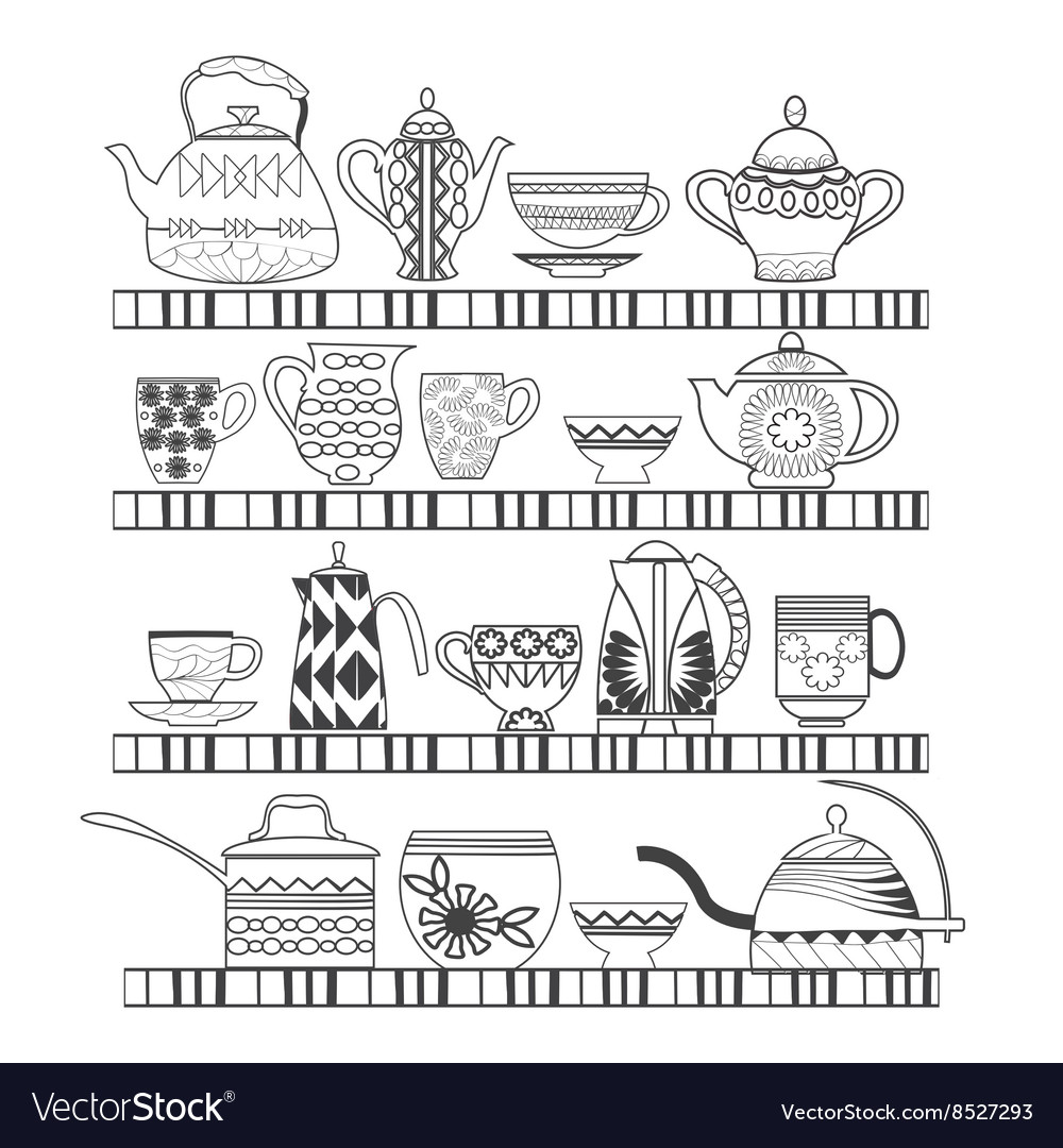 Set of tea collection with a tea pot tea cup jars vector