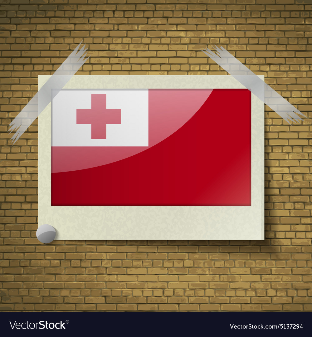Flags tongaat frame on a brick background vector