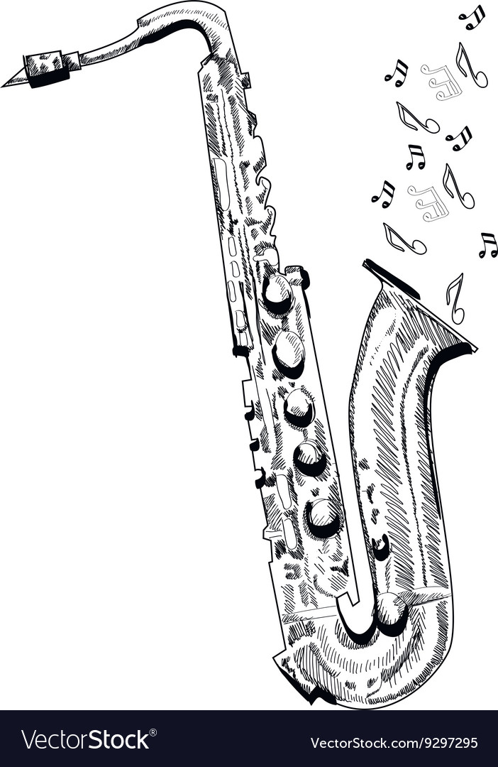 Musical instrument saxophone on white background vector