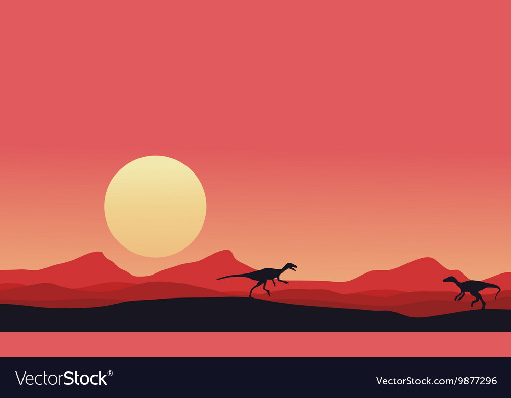 Eoraptor landscape at afternoon vector