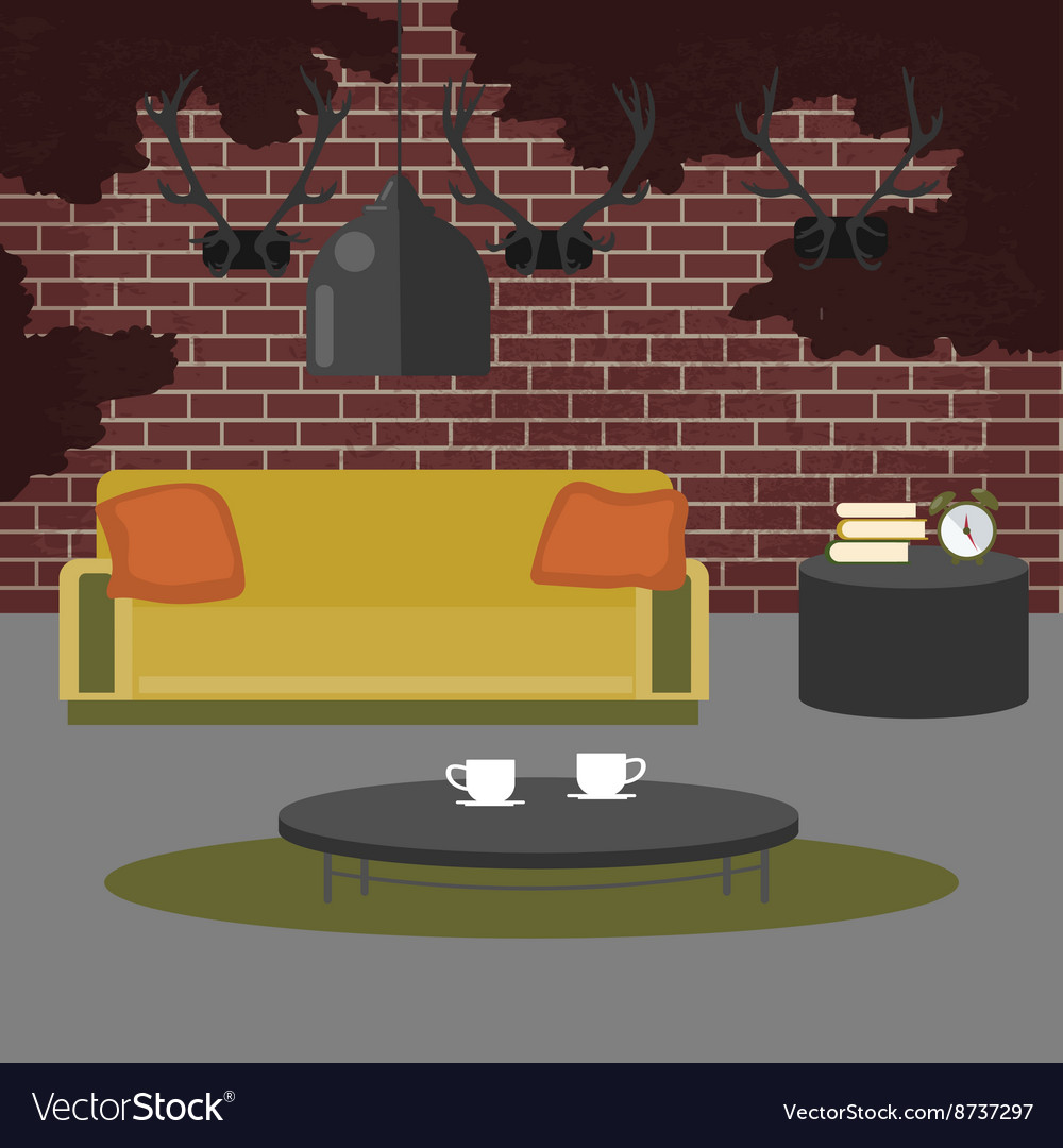 Modern interior living room in grunge style vector