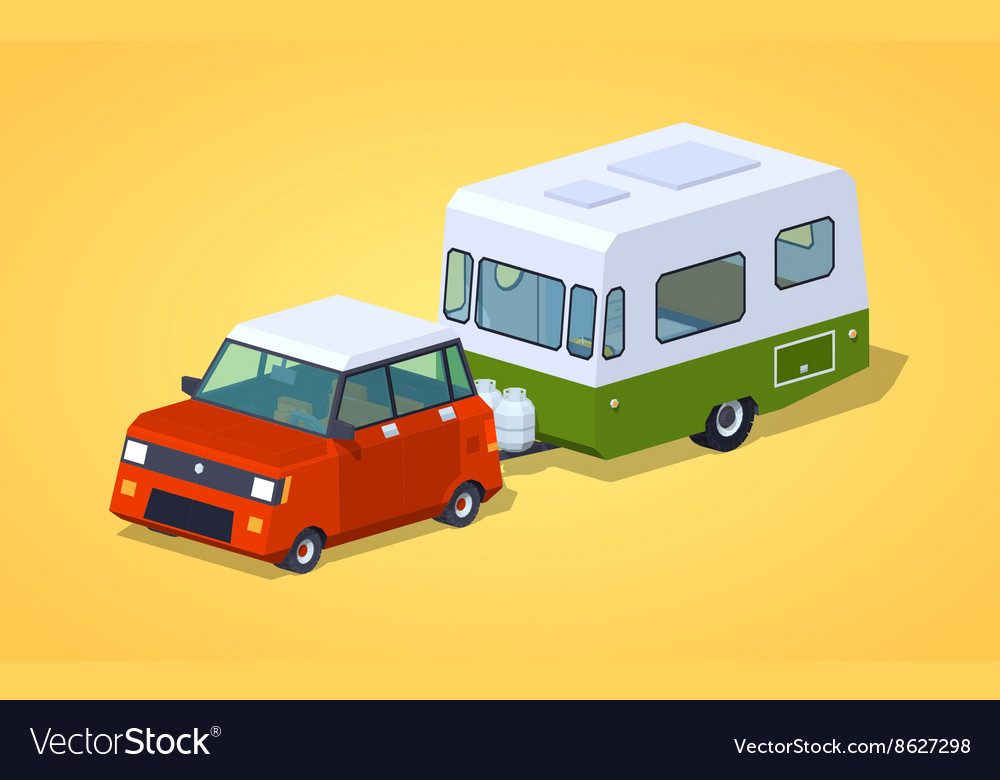 Low poly red hatchback with greenwhite motor home vector