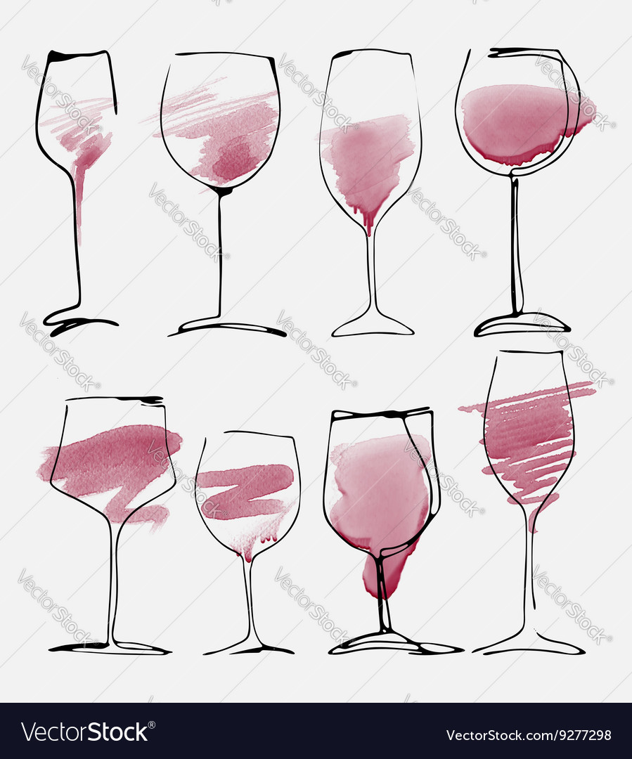 Wine glass set  collection sketched watercolor vector