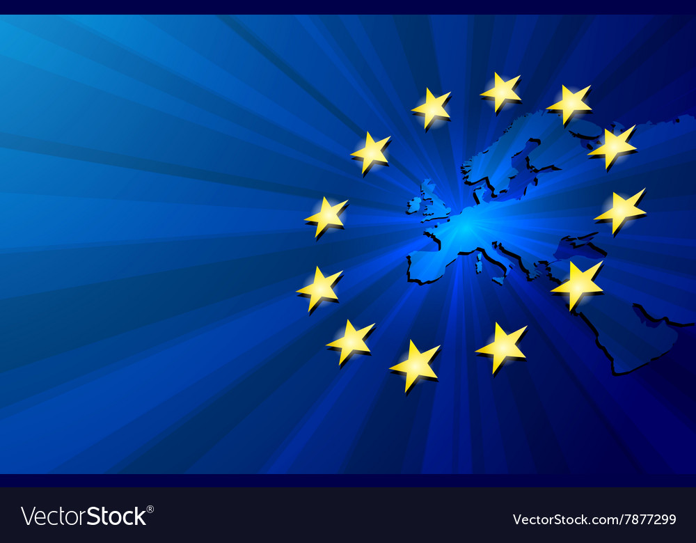 Europe map and european union flag vector