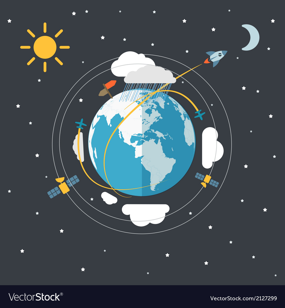 Flat design of the earth in space vector