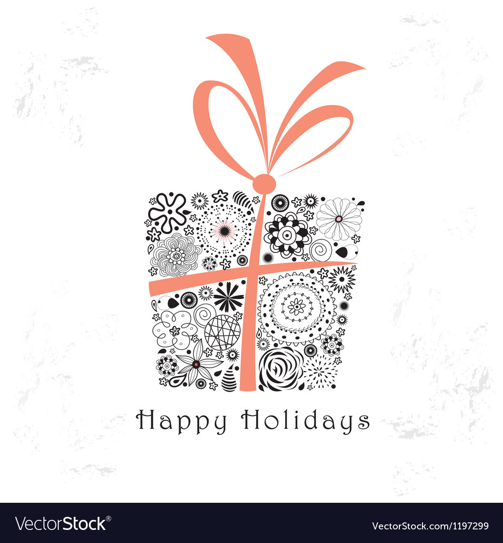 Greeting card with ornamental gift vector