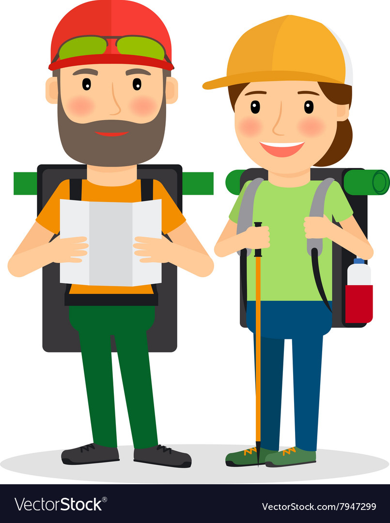 Hiking couple vector