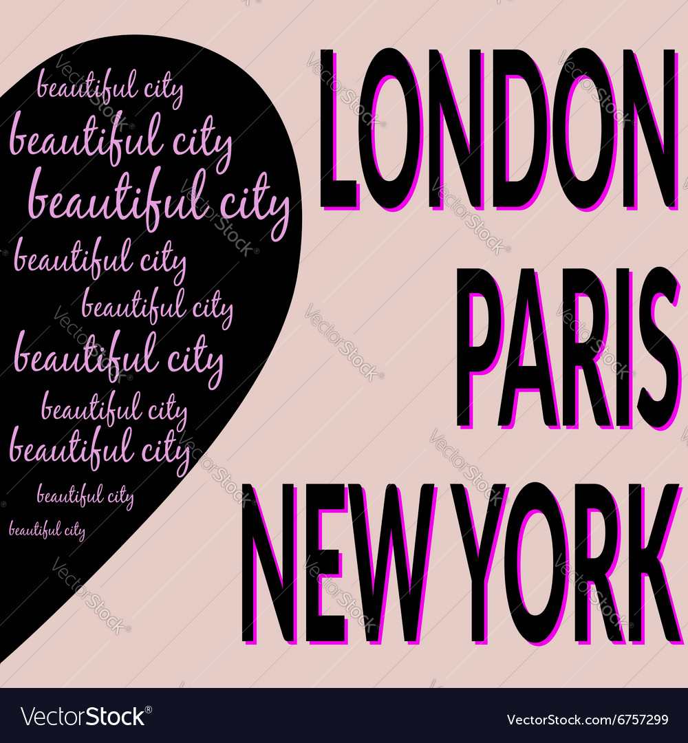 London paris ny tshirt 2 vector