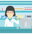 Pharmacist showing some medicine vector image vector image