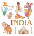 Indian colorful set of symbols vector image vector image