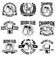 set of monochrome boxing club emblems on white vector image