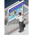 Isometric Underground Map - Man who is Searching vector image vector image