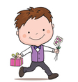 boy with cake vector image