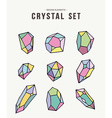 Colorful retro crystal set of icons vector image