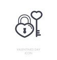 key and lock in heart shape icon vector image