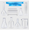 realistic laboratory glassware collection vector image