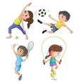 Two young girls exercising and two young boys vector image