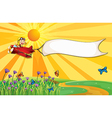 A monkey on a plane with an empty banner vector image vector image