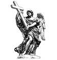 digital drawing marble statue of angel from the vector image